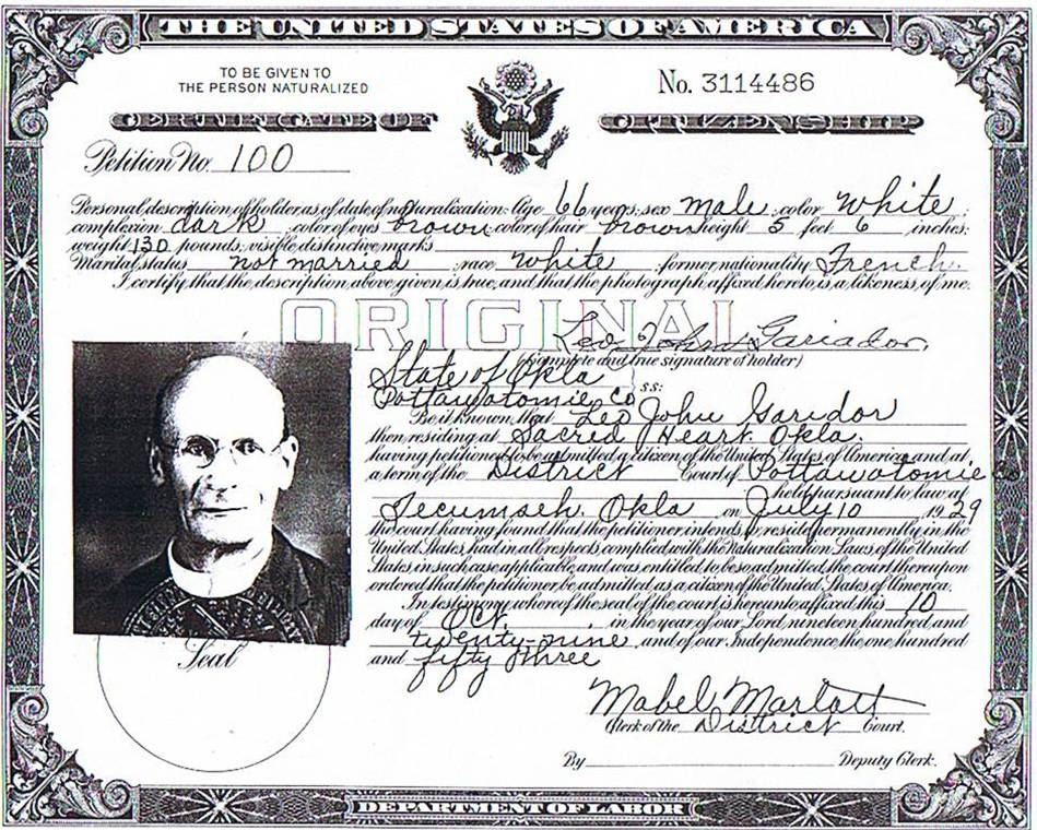 Immigration Records Fr Leo Gariadors Us Naturalization Document